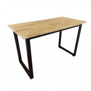 Bàn chân sắt chữ U gỗ cao su giá rẻ được làm bằng chất liệu gỗ cao su cao cấp. Trên mặt bàn được phủ một lớp Melamine, sơn PU chống thấm nước, chống trầy xước tốt, ẩm mốc, bóng đẹp theo thời gian.
