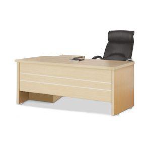 Bàn làm việc, bàn giám đốc kèm tủ phụ BLV-vp17 được làm bằng chất liệu gỗ công nghiệp cao cấp. trên mặt bàn được phủ một lớp Melamine chống trầy xước tốt, ẩm mốc, bóng đẹp theo thời gian.