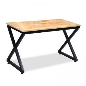 Bàn làm việc chân sắt chữ X - BCS-22 mặt bàn được làm bằng chất liệu gỗ cao su ghép thanh.