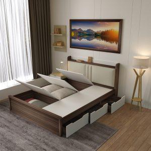 Giường ngủ đa năng bọc đệm là thiết kế mới của Nội thất Thiên Vương Sau một ngày làm việc vất vả, giường ngủ sẽ là nơi bạn để bạn nghỉ ngơi, lấy lại sức khỏe để bắt đầu ngày mới. Vì vậy, việc chọn một chiếc giường tốt là điều hết sức cần thiết. Giường ngủ nhiều ngăn chứa đồ là thiết kế mới của Nội thất Thiên Vương. Không chỉ cho bạn giấc ngủ ngon mà còn tốt về chất lượng, đẹp về thẩm mĩ. Hãy cùng chúng tôi đi khám phá mẫu sản phẩm có một không hai này nào!