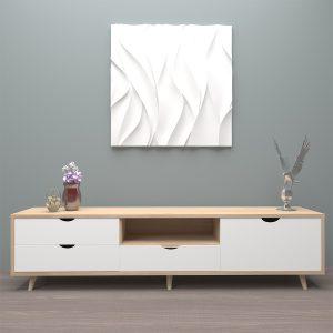 Kệ tivi phòng khách thiết kế đẹpthực sự là một lựa chọn tuyệt vờiKệ tivi phòng khách được làm từ chất liệu gỗ công nghiệp MDF chống ẩm có độ bền chắc cao. Sản phẩm được phủ Melamine bề mặt nhẵn mịn giúp chống thấm nước