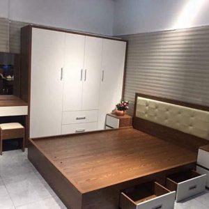 Giường gỗ công nghiệp bọc đệm