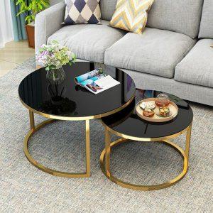 Bàn trà đôi mặt kính chân kim loại Đặc điểm: Chân bàn được làm từ sắt phủ sơn tĩnh điện chống trầy xước và bền đẹp theo thời gian, mặt bàn làm từ kính dày sang trọng, dễ dàng vệ sinh.