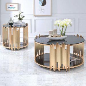 Bàn sofa tròn màu vàng mặt kính với thiết kế đẹp mắt và phong cách, bàn trà sofa giúp tăng sự sang trọng và tạo điểm nhấn cho căn phòng khách của bạn.