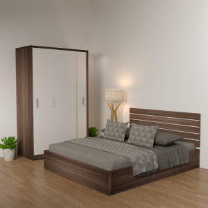 Giường gỗ công nghiệp 6089 kẻ chỉ trắng 1m8