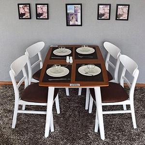 Bộ bàn ghế ăn 4 chỗ màu trắng đẹp Gia công tỉ mỉ, trau chuốt từng chi tiết Chất lượng theo tiêu chuẩn xuất khẩu Tùy chọn mặt bàn,mặt ghế theo nhu cầu. Chất liệu gỗ cao su xẻ sấy kỹ càng Phong cách: Scandinavian