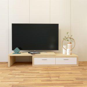 Kệ tivi thông minh kéo dài, thu gọn được làm bằng gỗ MDF phủ melamine cao cấp. Kệ được thiết kế đa năng có thể tùy chình chiều dài theo ý muốn từ 1m2 đến 1m8.