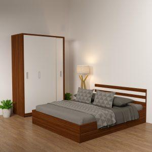 Giường gỗ công nghiệp 6041 cải trắng
