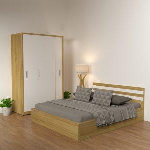 Giường được thiết kế thêm hai ngăn kéo nhỏ bên dưới tiết kiệm được không gian, giúp bạn hoàn toàn thoải mái trong quá trình sử dụng sản phẩm.