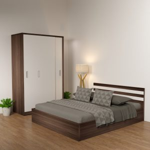 Giường gỗ công nghiệp 6089 cải trắng
