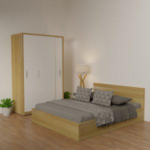 Giường gỗ công nghiệp 9223 kẻ chỉ trắng