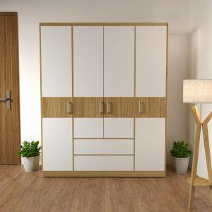 Tủ quần áo 4 cánh vân gỗ giá tốt là dòng tủ quần áođượcthiết kế theo phong cách hiện đại với tông màu 9223 kết hợp cải cánh trắng sẽ giúp phòng ngủ của bạn trở lên sang trọng và tươi sáng hơn, góp phần làm cho không gian phòng ngủ trở nên hiện đại và tươi mới hơn.